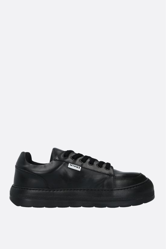 SUNNEI: Dreamy smooth leather sneakers Color Black_1