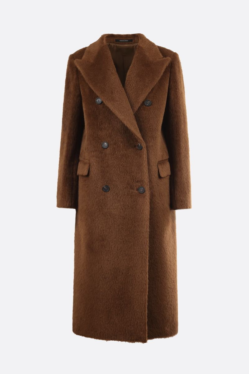 TAGLIATORE: Jole alpaca wool blend double-breasted coat Color Brown_1