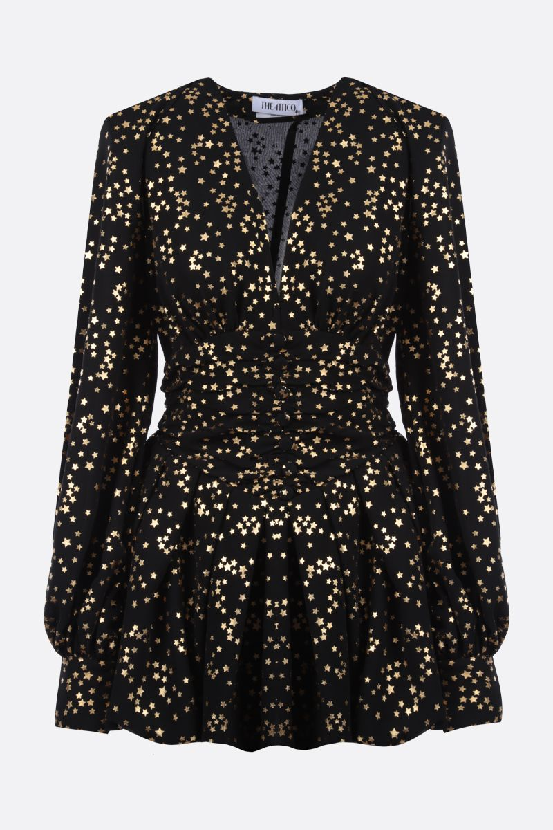 THE ATTICO: stars print chiffon minidress Color Black_1