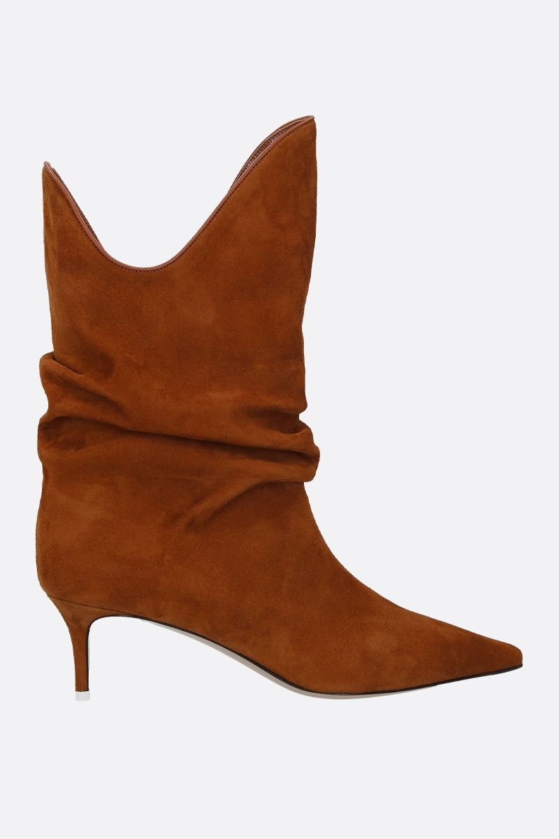 THE ATTICO: suede slouchy-effect boots Color Neutral_1
