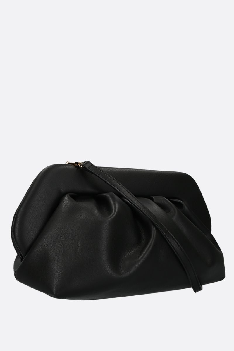 THE MOIRE': smooth faux leather clutch Color Black_2