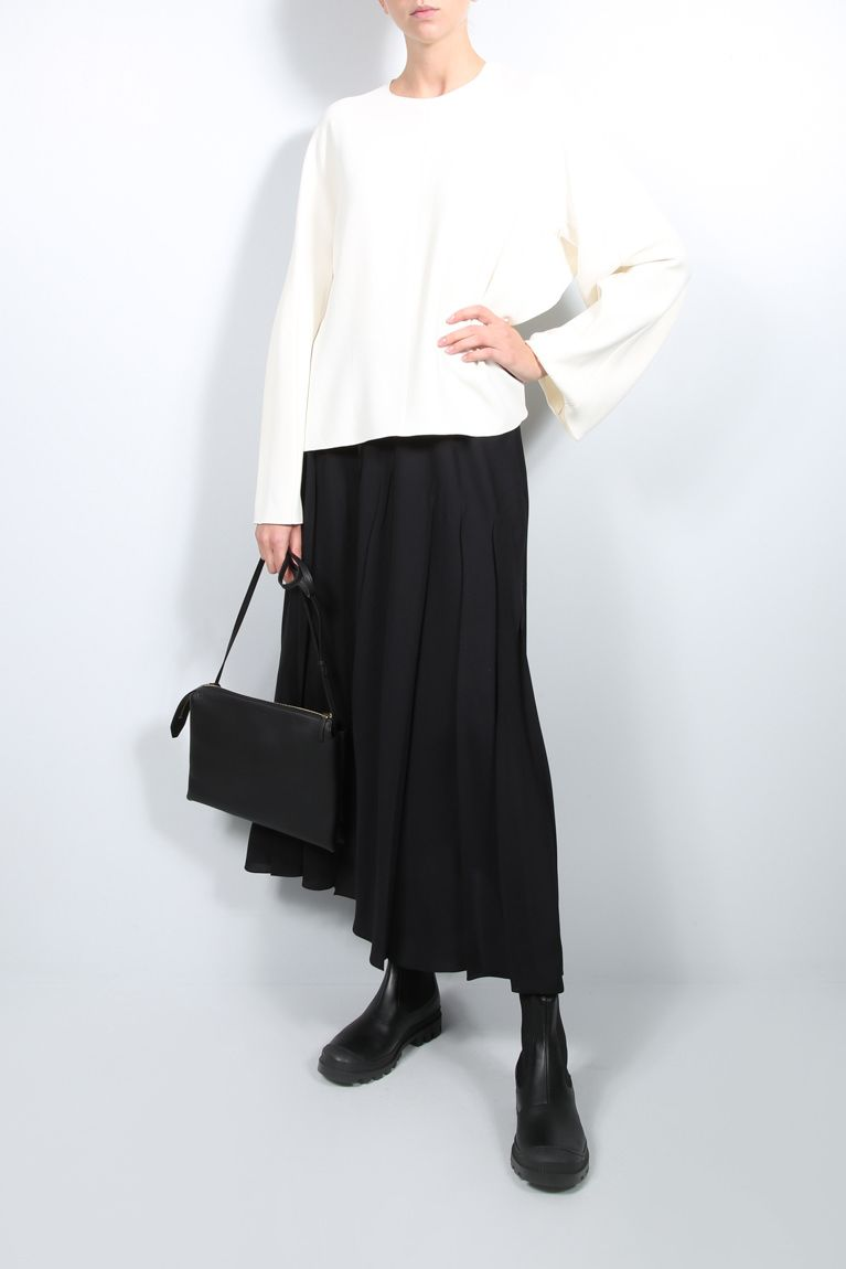 THE ROW: Travi twill pleated skirt Color Black_3