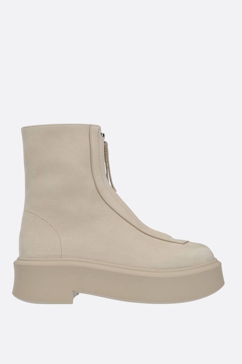THE ROW: grainy nabuk zipped boots Color Neutral_1