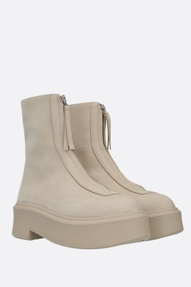 THE ROW: grainy nabuk zipped boots Color Neutral_2