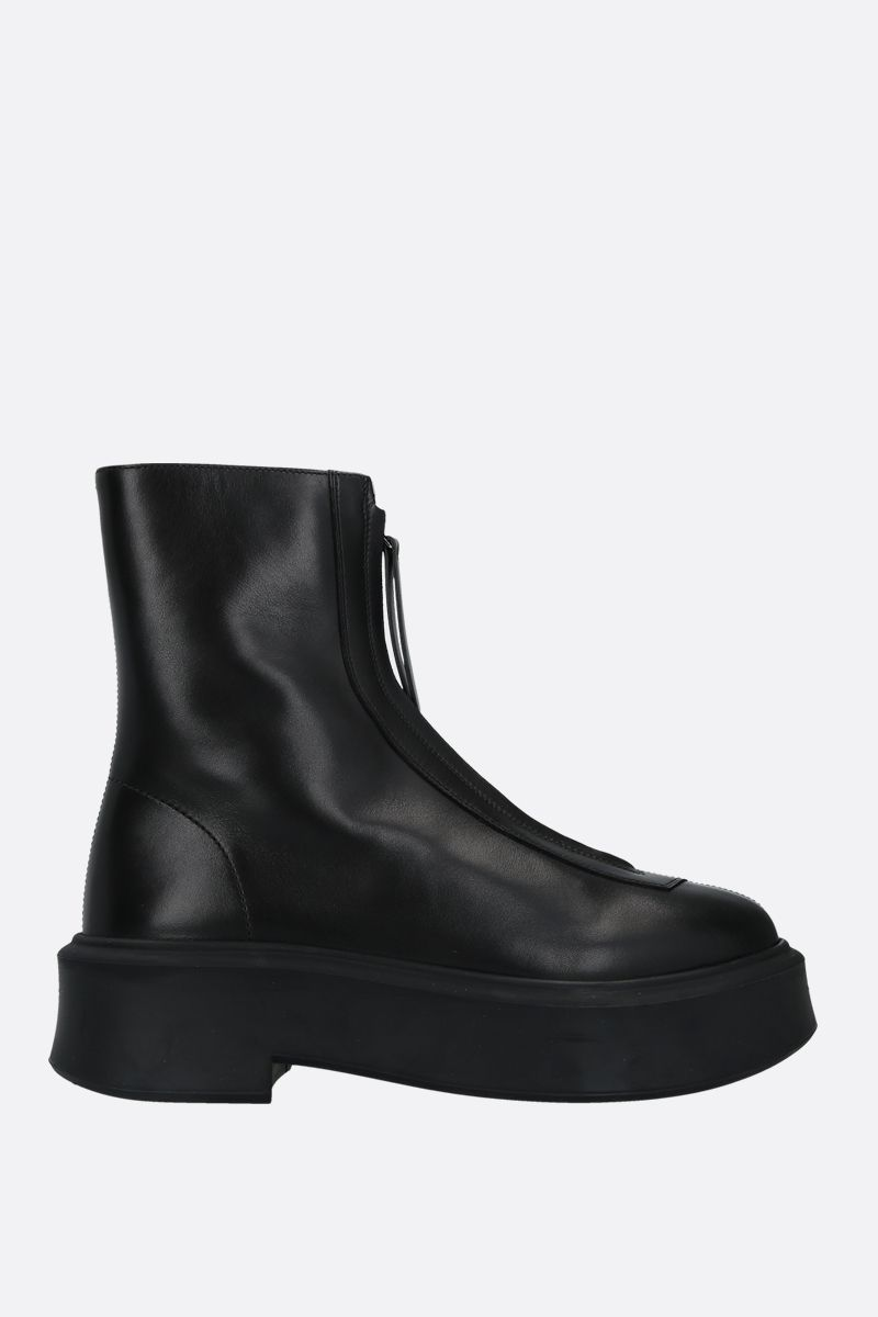THE ROW: smooth leather zipped boots Color Black_1