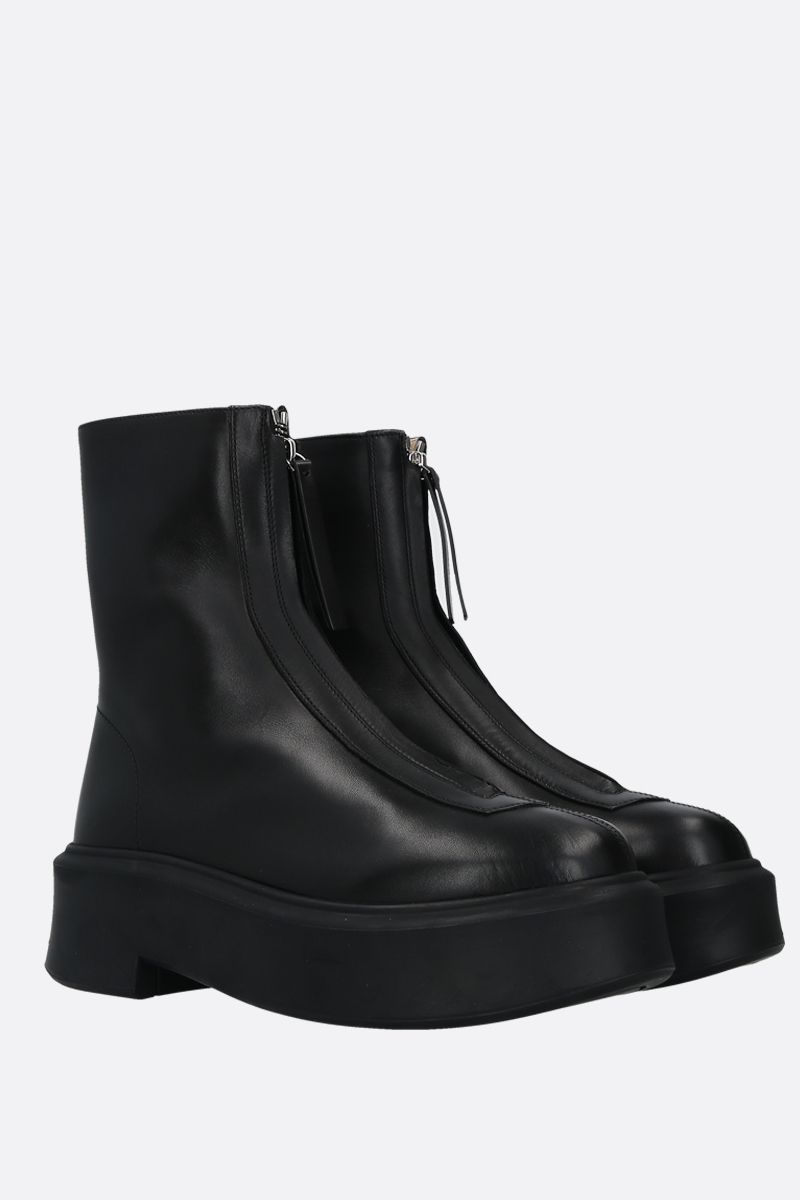 THE ROW: smooth leather zipped boots Color Black_2