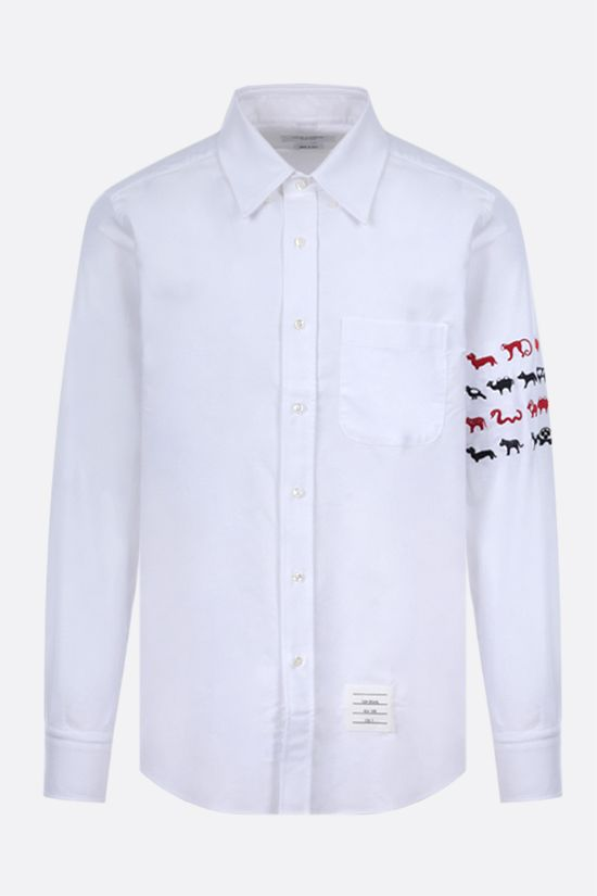 THOM BROWNE: Animals embroidered cotton shirt Color White_1