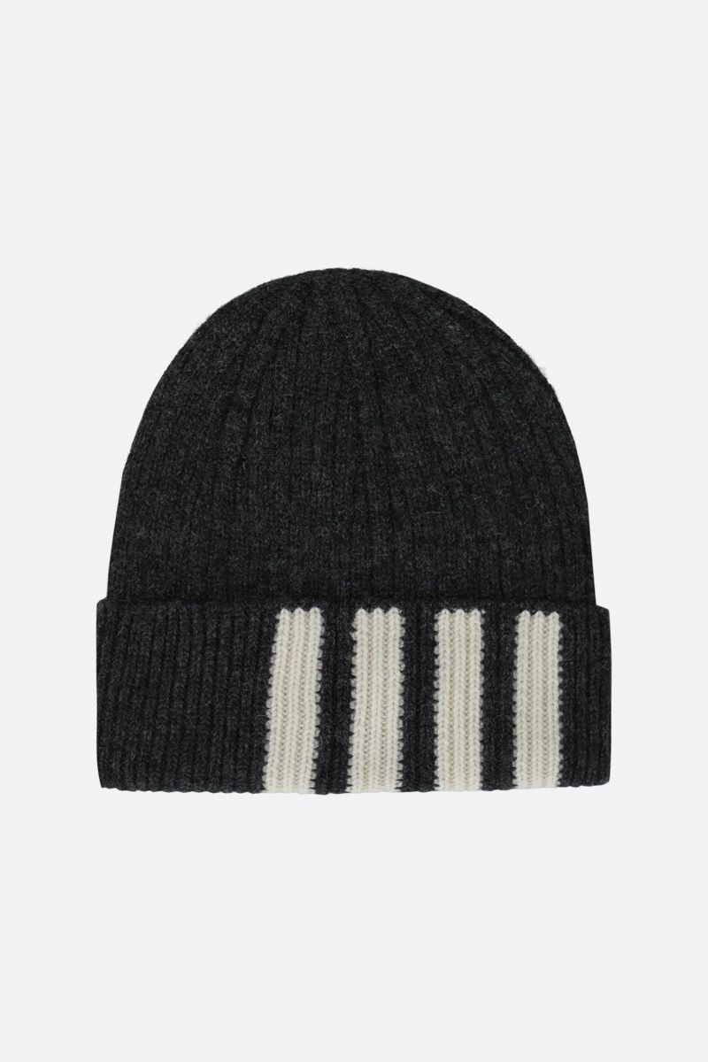 THOM BROWNE: 4-bar detailed wool beanie Color Grey_1