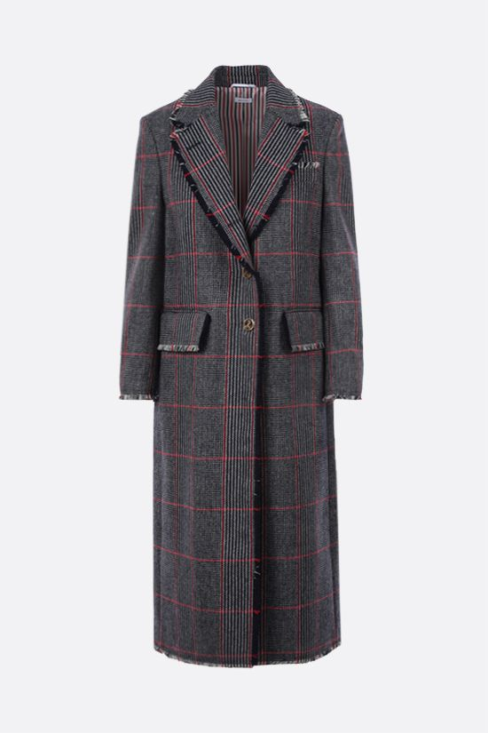THOM BROWNE: single-breasted check wool coat Color Multicolor_1