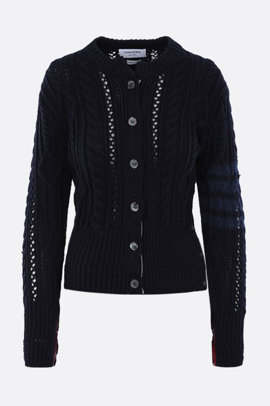 THOM BROWNE: 4-bar intarsia wool cardigan Color Blue_1