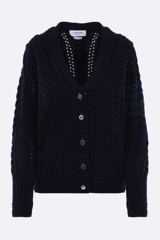 THOM BROWNE: 4-bar intarsia wool cable-knit cardigan Color Blue_1