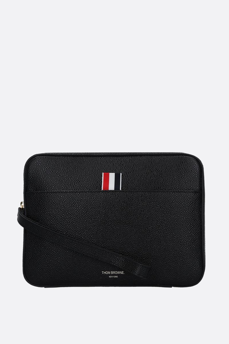 THOM BROWNE: Pebble Grain compact clutch Color Black_1