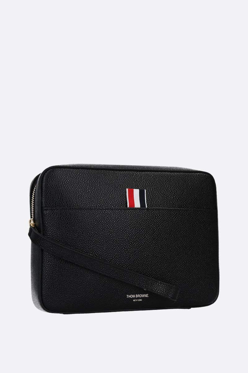 THOM BROWNE: Pebble Grain compact clutch Color Black_2