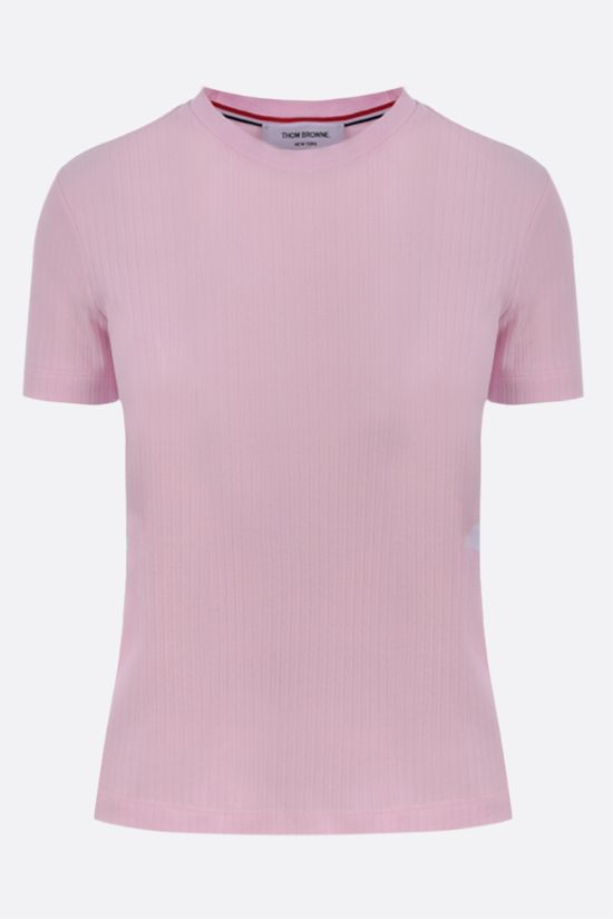 THOM BROWNE: 4-bar-detailed ribbed cotton t-shirt Color Pink_1