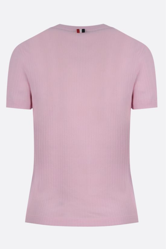 THOM BROWNE: 4-bar-detailed ribbed cotton t-shirt Color Pink_2