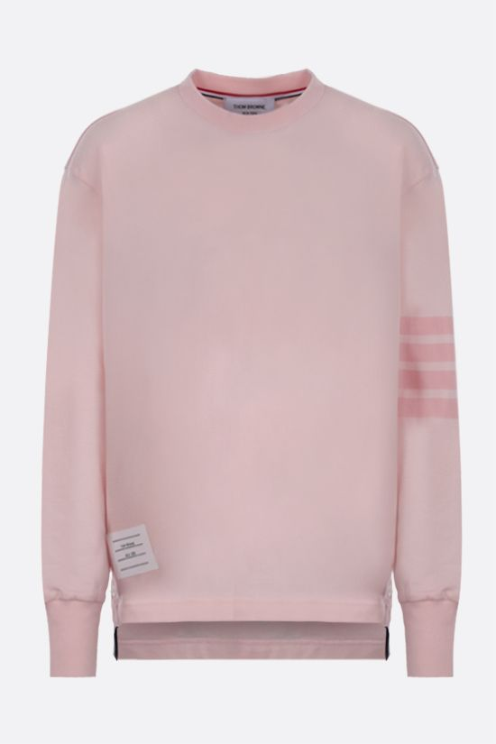 THOM BROWNE: 4-bar-detailed cotton long-sleeved t-shirt Color Pink_1