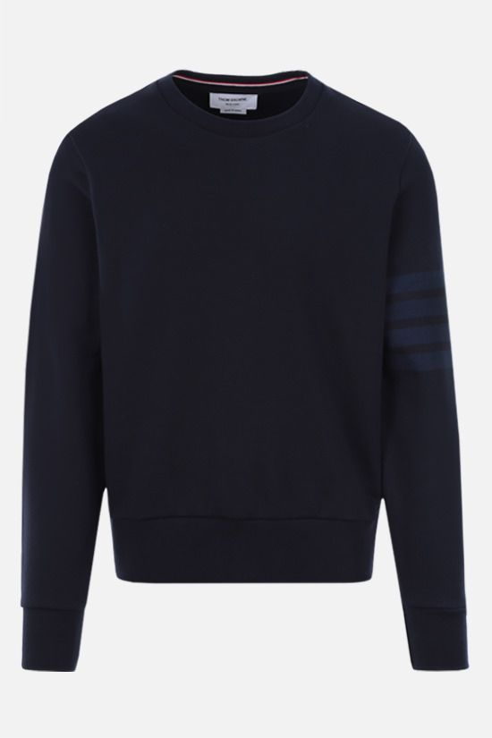 THOM BROWNE: 4-bar-detailed cotton sweatshirt Color Blue_1