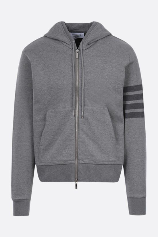 THOM BROWNE: 4-bar detailed cotton hoodie Color Grey_1
