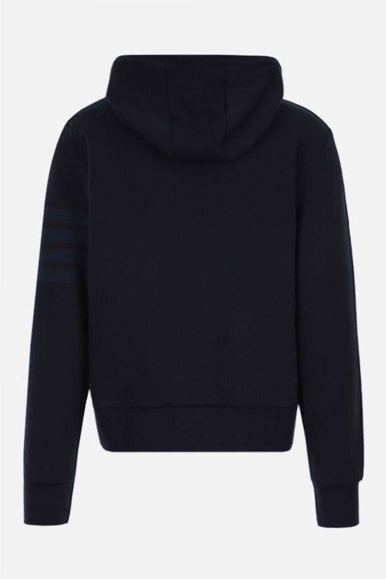 THOM BROWNE: 4-bar detailed cotton hoodie Color Blue_2