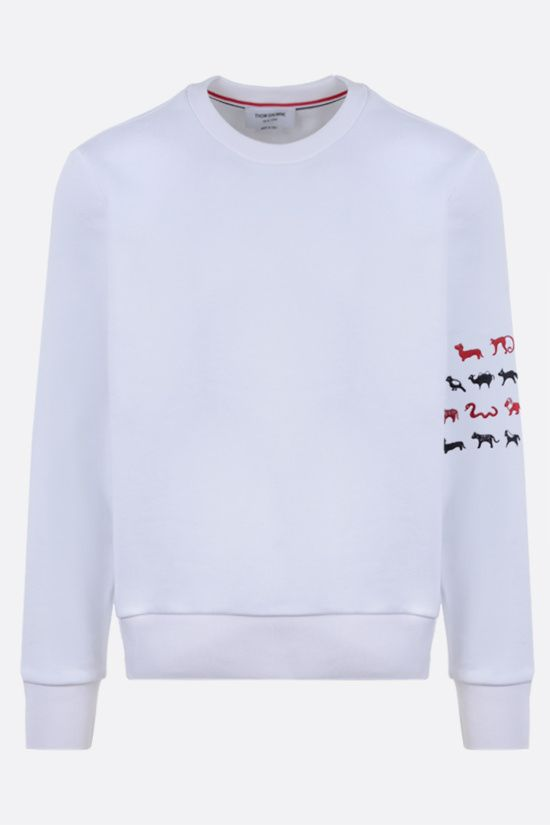 THOM BROWNE: animals embroidered cotton sweatshirt Color White_1