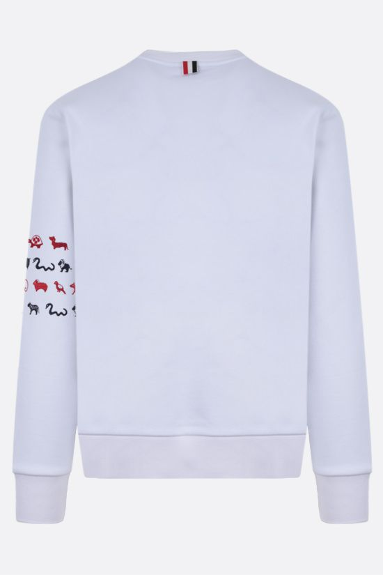 THOM BROWNE: animals embroidered cotton sweatshirt Color White_2