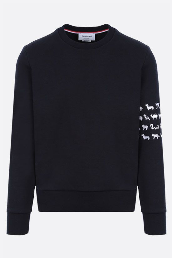 THOM BROWNE: animals embroidered cotton sweatshirt Color Blue_1