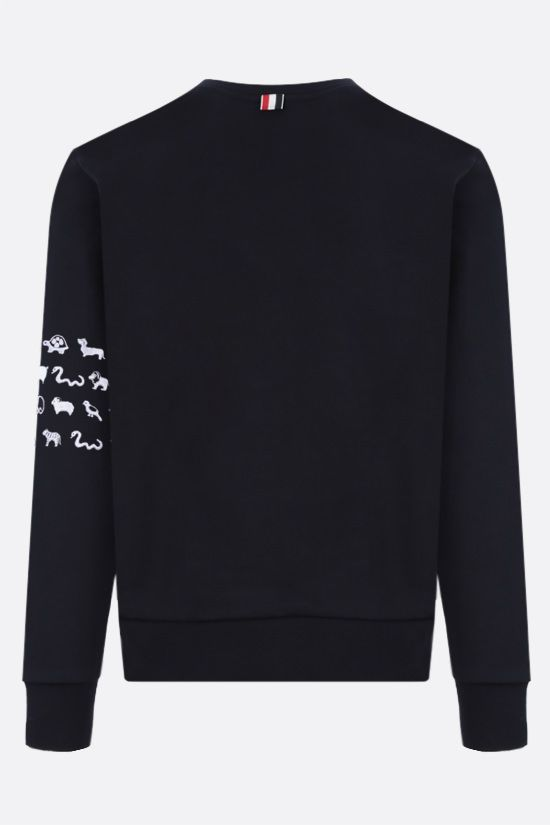 THOM BROWNE: animals embroidered cotton sweatshirt Color Blue_2