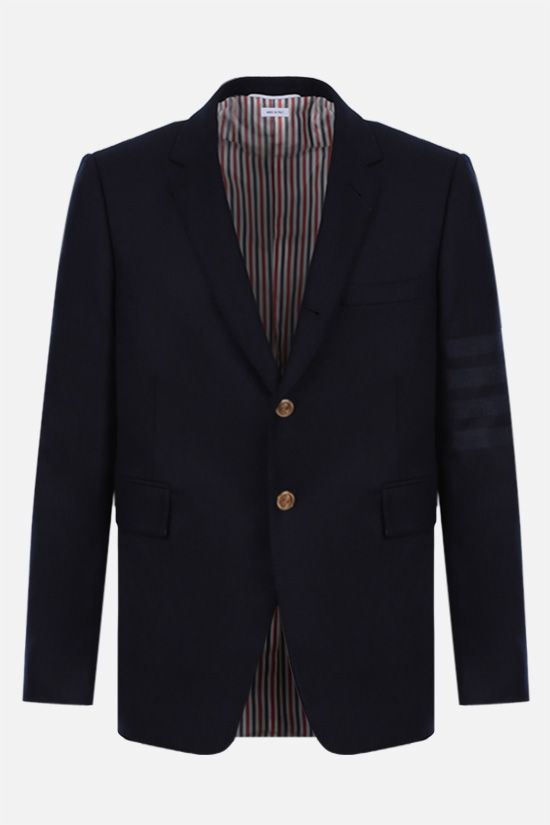 THOM BROWNE: 4-bar-detailed single-breasted wool cashmere blend jacket Color Blue_1