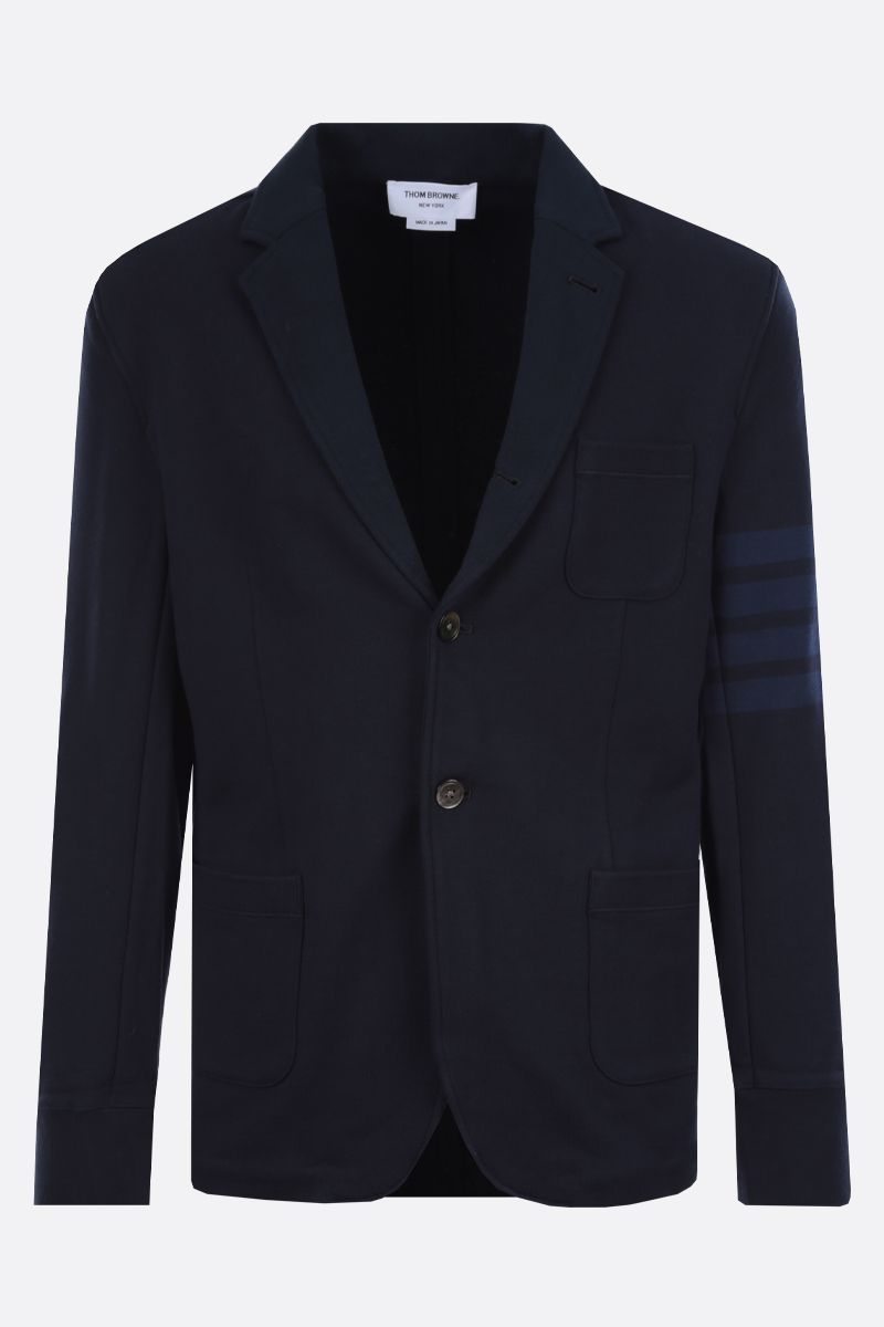 THOM BROWNE: 4-bar-detailed jersey single-breasted jacket Color Blue_1