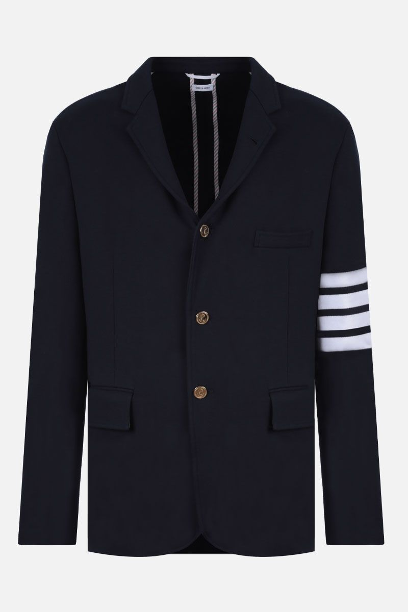 THOM BROWNE: 4-bar detailed jersey single-breasted jacket Color Blue_1