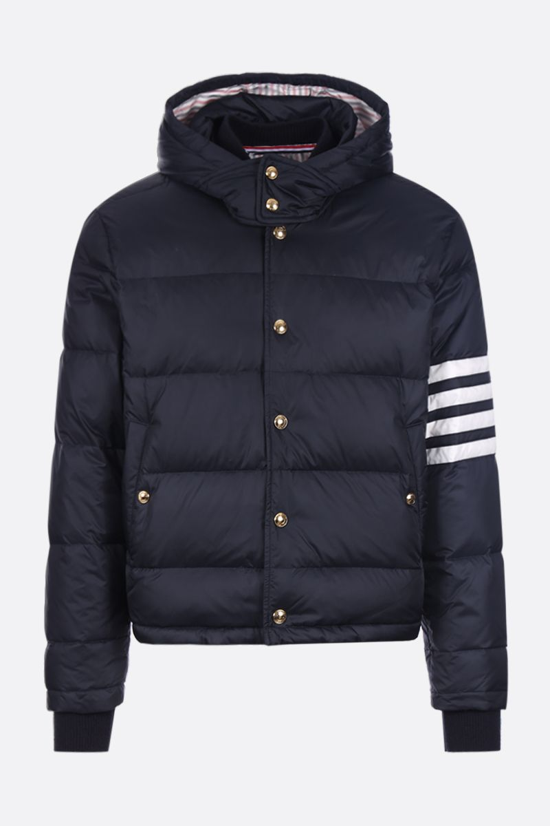 THOM BROWNE: 4-bar detail nylon down jacket Color Blue_1