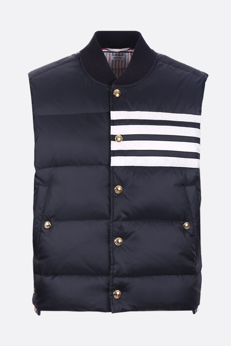THOM BROWNE: 4-bar detailed sleeveless nylon down jacket Color Blue_1