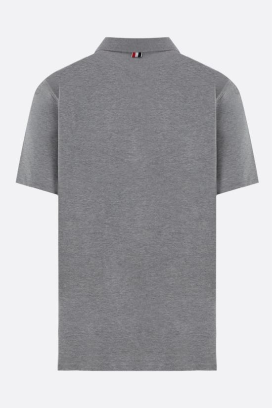 THOM BROWNE: tricolour loop-detailed jersey polo shirt Color Grey_2