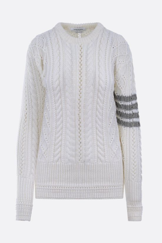 THOM BROWNE: 4-bar intarsia wool pullover Color White_1