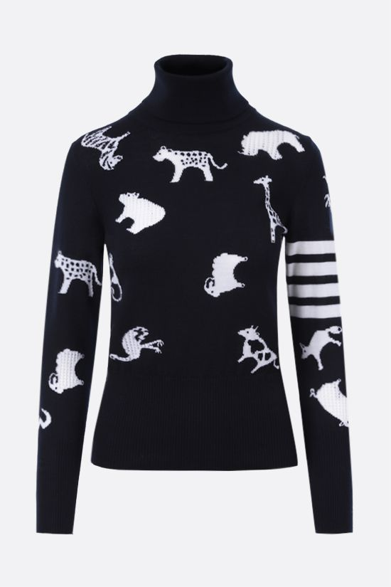THOM BROWNE: animals intarsia wool turtleneck Color Blue_1