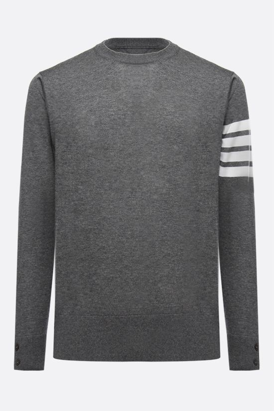 THOM BROWNE: 4-Bar intarsia wool pullover Color Grey_1