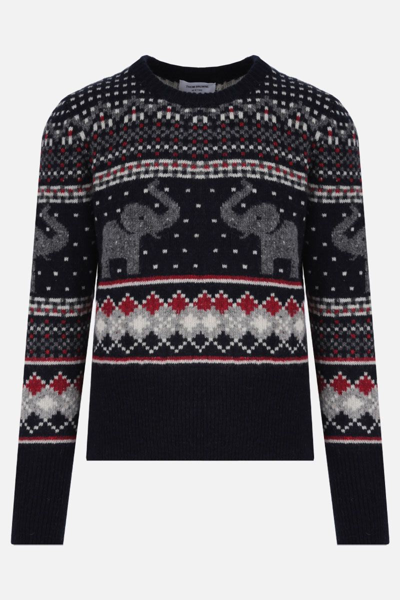 THOM BROWNE: Elephant Fair Isle-motif wool mohair blend pullover Color Multicolor_1