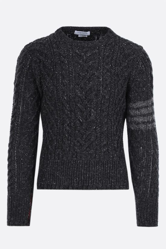 THOM BROWNE: 4-bar detailed wool mohair pullover Color Grey_1