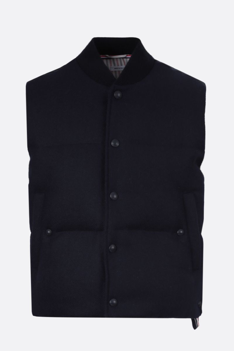 THOM BROWNE: tricolour-detailed wool sleeveless down jacket Color Blue_1