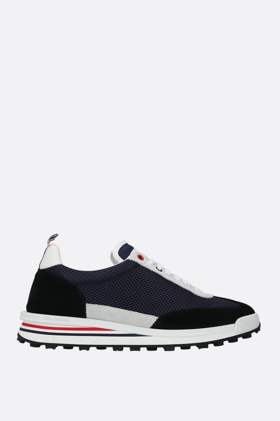 THOM BROWNE: tech knit and suede low-top sneakers Color Blue_1