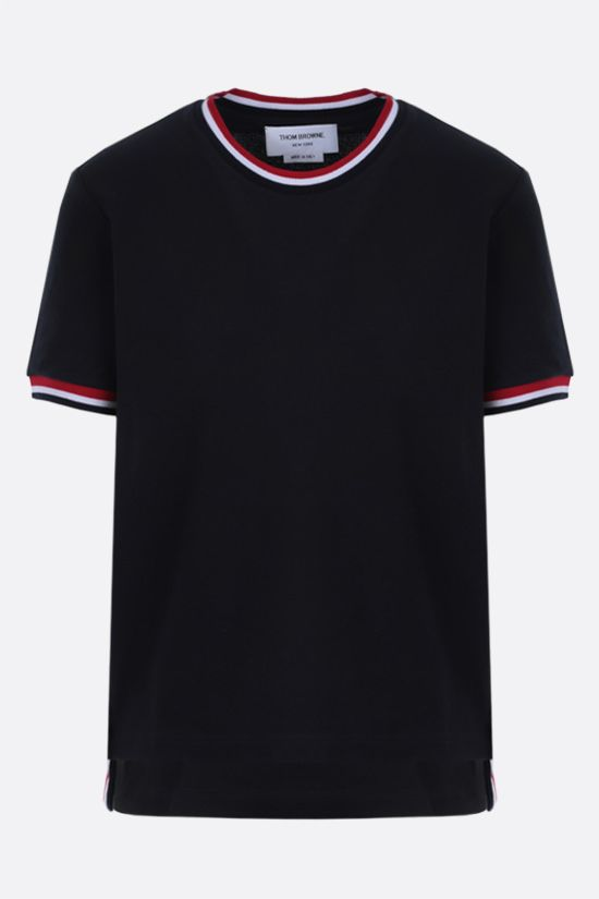 THOM BROWNE: tricolour-detailed cotton t-shirt Color Blue_1