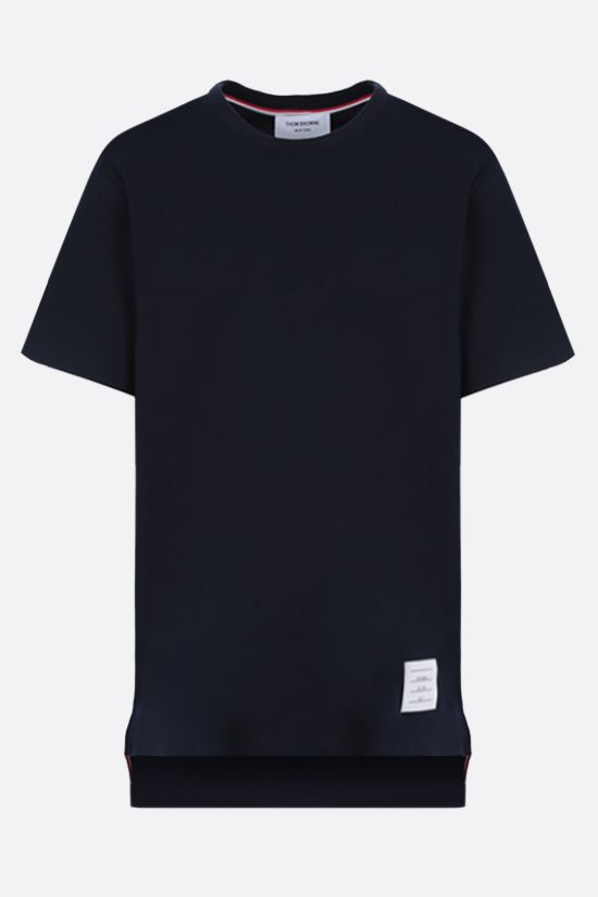 THOM BROWNE: slit-detailed cotton t-shirt Color Blue_1
