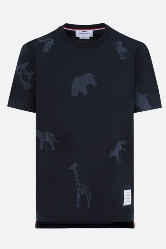 THOM BROWNE: Animals print cotton t-shirt Color Blue_1