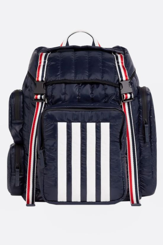 THOM BROWNE: 4-bar detailed nylon backpack Color Blue_1