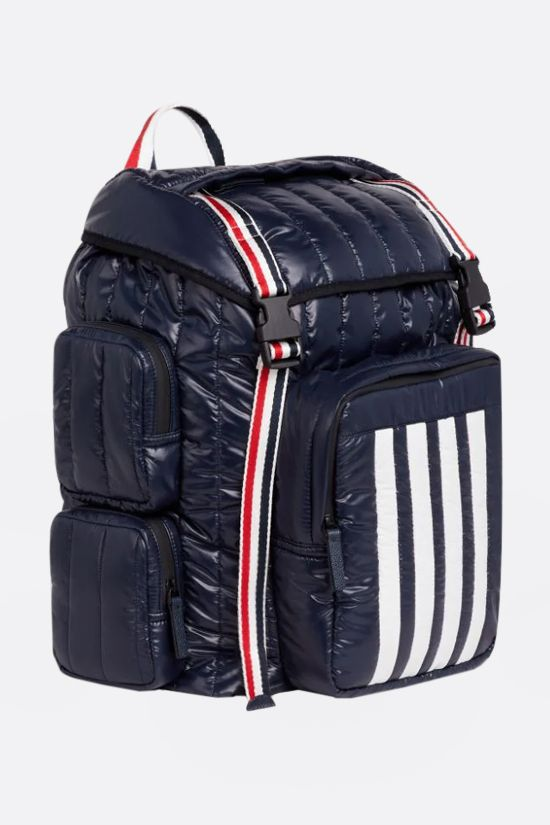 THOM BROWNE: 4-bar detailed nylon backpack Color Blue_2