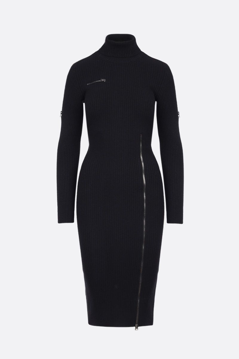 TOM FORD: wool blend ribbed-knit midi dress Color Black_1