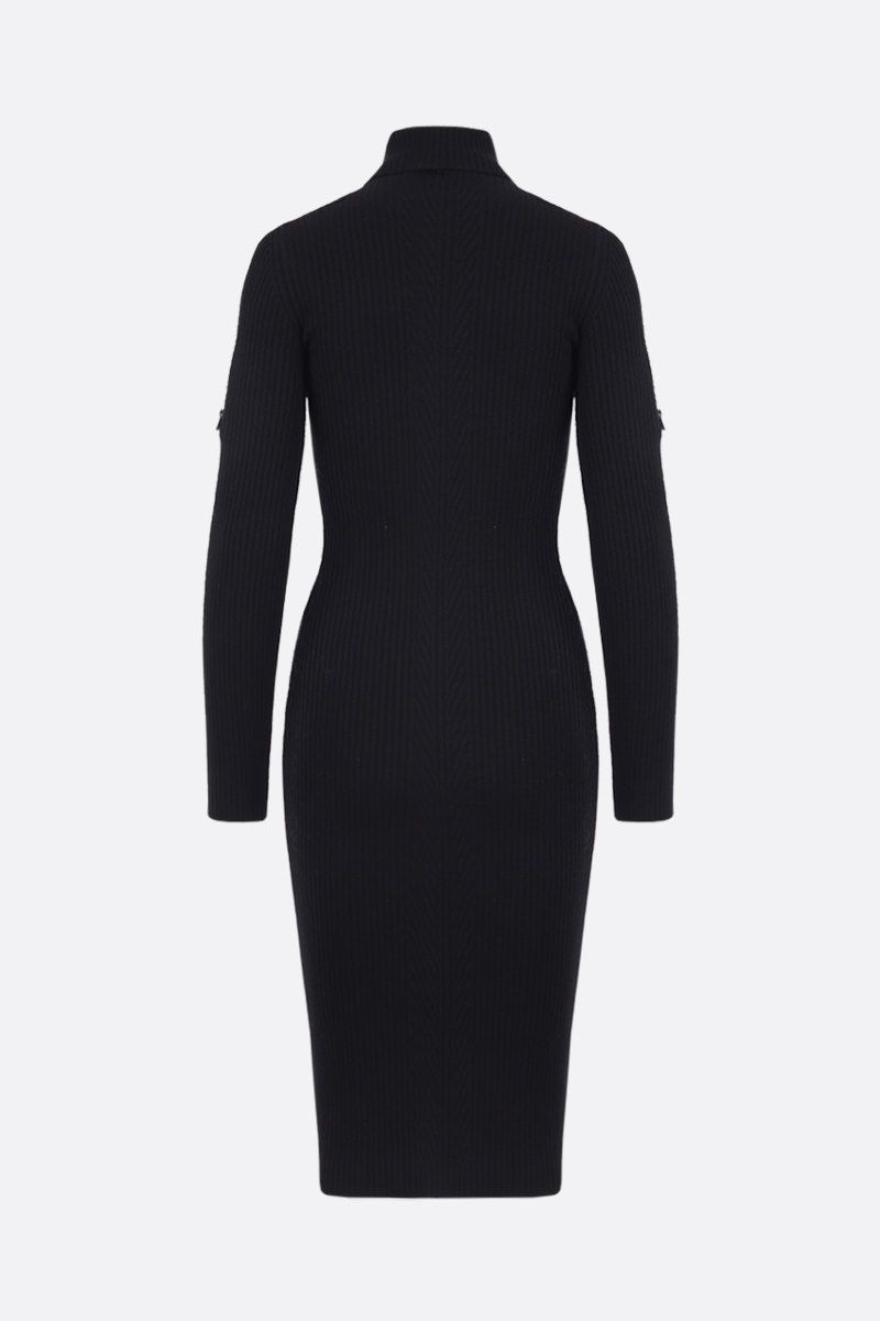 TOM FORD: wool blend ribbed-knit midi dress Color Black_2