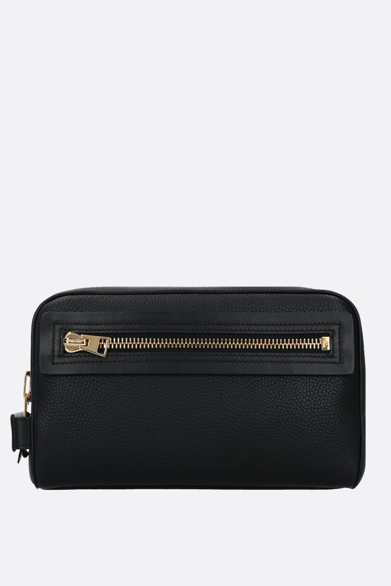 TOM FORD: beauty case in pelle martellata Colore Nero_1