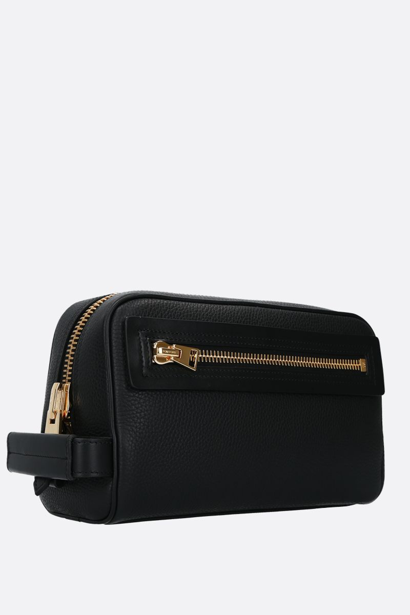 TOM FORD: beauty case in pelle martellata Colore Nero_2