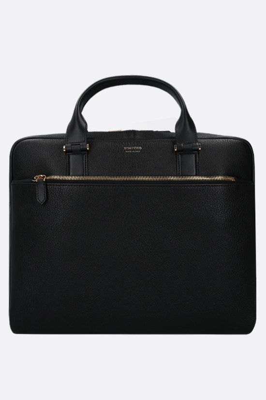 TOM FORD: grainy leather business bag Color Black_1